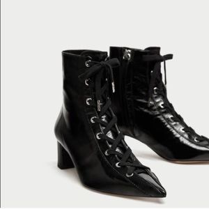Black patent leather lace up booties